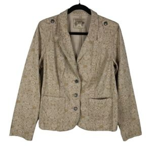 Ruff Hewn Tan Floral Blazer Jacket